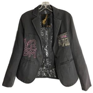 Volcom sz S Blazer Jacket Stone Gray Logo Graphic